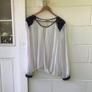 Bisou Bisou Sheer Lace Long Sleeve Blouse
